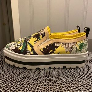 ac770d497329 MSGM Shoes - MSGM neon floral slip on platform sneakers